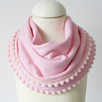 Pink jersey baby bib, scarf. dribble bib, toddler scarf. with pom pom trim.