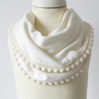 Ivory jersey baby bib, scarf. dribble bib, toddler scarf. with pom pom trim.