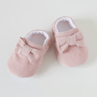 Pink corduroy girls shoes, with bow at front, shoes for toddlers and pre walkers