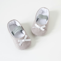 Grey linen baby girls ballet flats, toddler shoes, baby shower gifts.