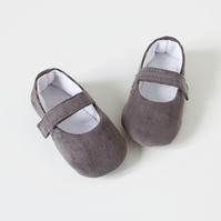 Grey corduroy Baby girls shoes, Mary Jane baby girls shoes.