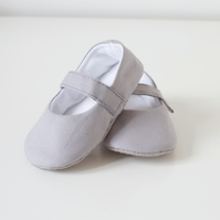 Light grey baby girls shoes, Mary Jane baby girls shoes.