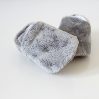 Grey teddy soft fleece baby boys booties, shoes. girls shoes.