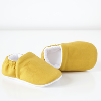 Mustard cotton baby mocc's, baby booties, baby shoes.