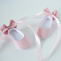 Baby pink ballet flats with bow at back and ribbon ankle ties, baby girls shoes.