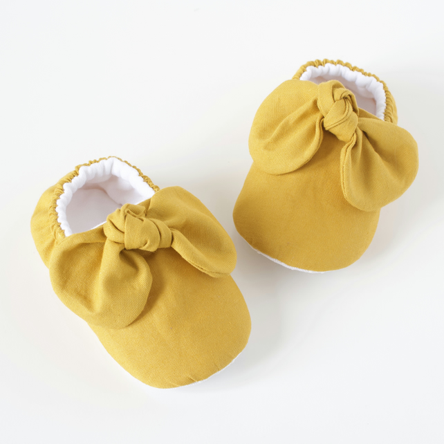 Mustard knotted bow baby girls shoes, baby mocc's