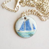 small painted enamel pendant - blue sails at sea