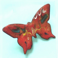 medium butterfly brooch - scrolled red