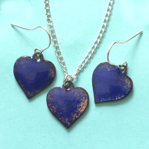 matched set of pendant and earrings in blue