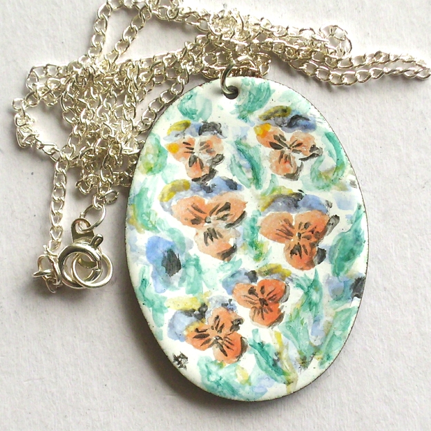 Painted enamel pendant (large) - Pansies
