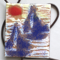 large oblong pendant on thong - boats in the mist