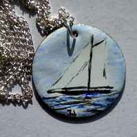 medium painted enamel pendant - sailing ship at sea