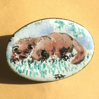 painted enamel brooch - British Wildlife - otter