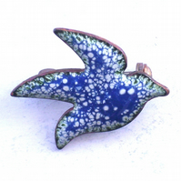 large bird brooch - blue