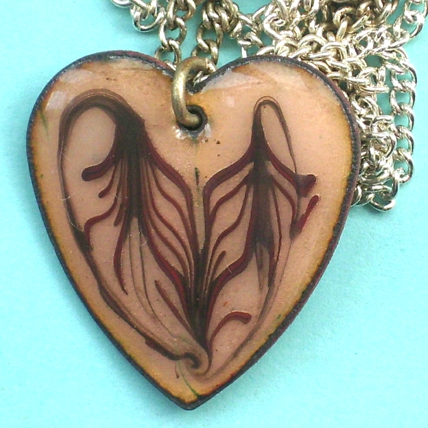 heart pendant - scrolled red brown, over golden brown