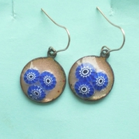 Millefiore earrings - blue (2)