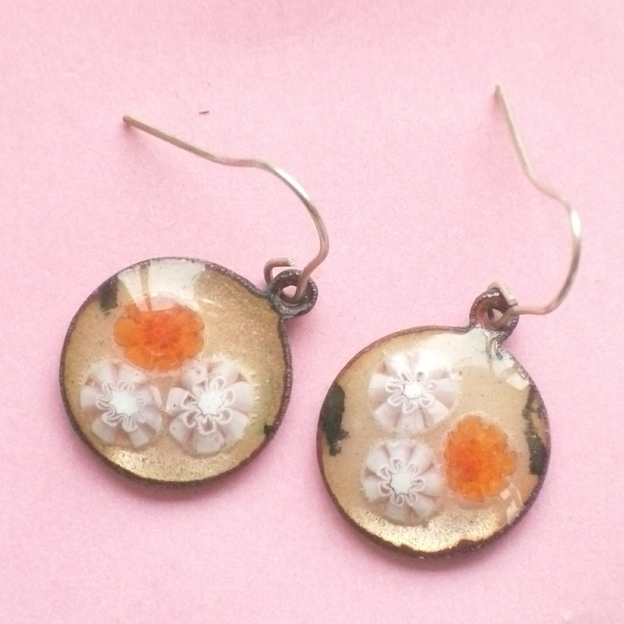 Millefiore earrings - red and white