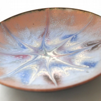 Scrolled enamel bowl - ruby and blue