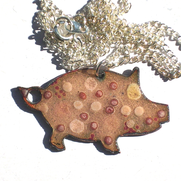 large pig pendant - beaded