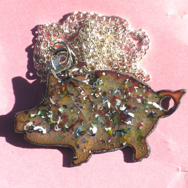 large pig pendant - glass chip