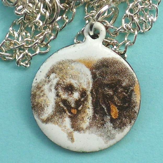 Enamel transfer picture on white pendant - poodles