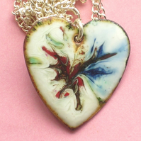 heart pendant - green, blue and dark red over white