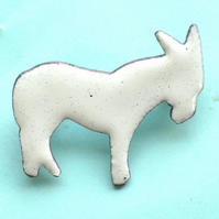 white donkey brooch