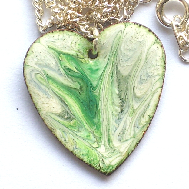 heart pendant - scrolled green and grey over white