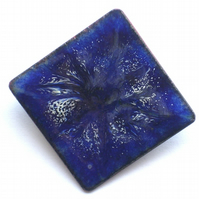 large square brooch - scrolled white on blue
