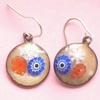 millefiore earrings - red white and blue