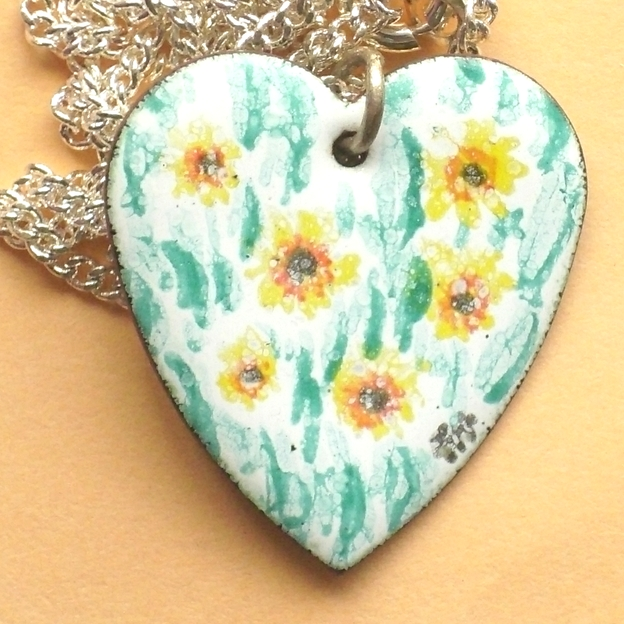 painted enamel pendant - medium heart - sunflowers