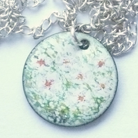 Painted enamel pendant (small) - dogrose