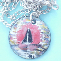 small painted enamel pendant - sunset at sea