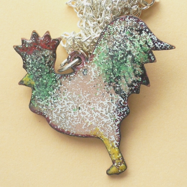 Cockerels Are Scattered All Over This Fabric Made From: Cockerel Pendant