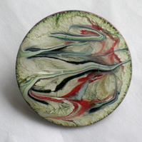 enamel brooch - Round white brooch scrolled red and blue