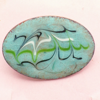enamel brooch - scrolled blue, green, white over turquoise