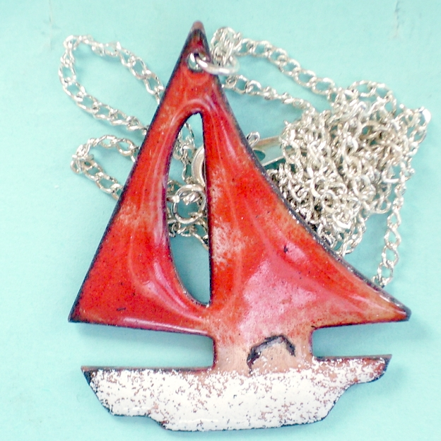 enamel pendant - boat with red sails No2