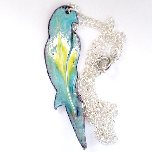 enamel pendant - parrot scrolled white and yellow over turquoise