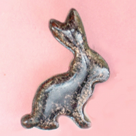 enamel brooch - black rabbit