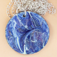 enamel pendant - scrolled blue on white