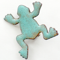 enamel brooch - frog - turquoise over golden brown