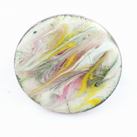 enamel brooch - yellow, pink and grey scrolled over white