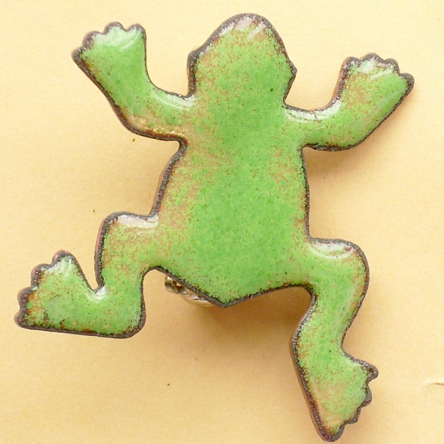 enamel brooch - green frog 2