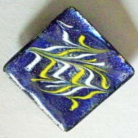 large square brooch - scrolled white and yellow on blue