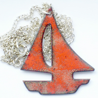 enamel pendant - red sailboat