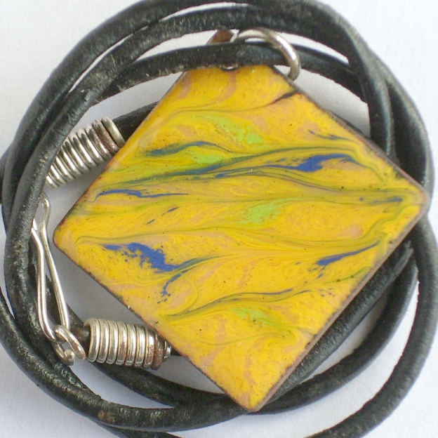 enamel pendant - square:  scrolled blue and pale green on yellow