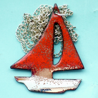 pendant - large boat - red and white