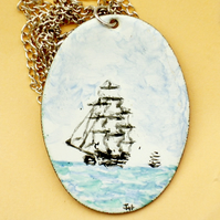 large painted enamel pendant - square riggers at sea