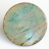 large round brooch - scrolled aquamarine and pale blue over clear