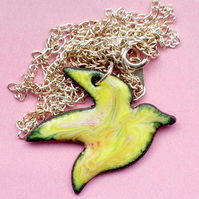 large bird pendant - yellow scrolled